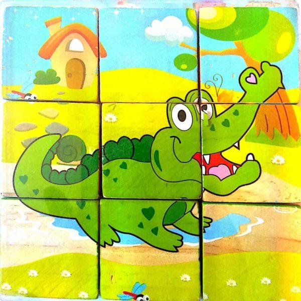 بازل خشبى 9 قطع مكعبات شكل تمساح