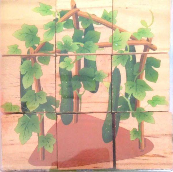 بازل خشبى 9 قطع مكعبات شكل خيار
