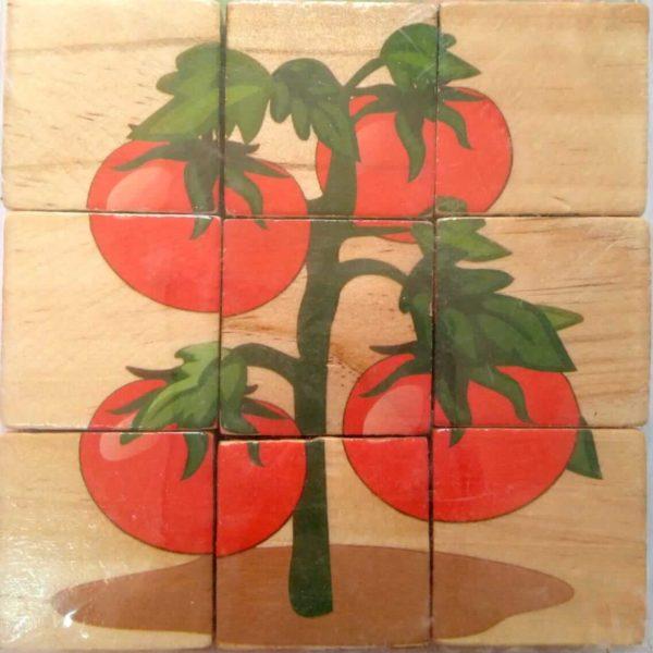 بازل خشبى 9 قطع مكعبات شكل طماطم