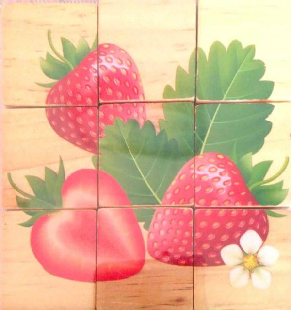 بازل خشبى 9 قطع مكعبات شكل فراولة