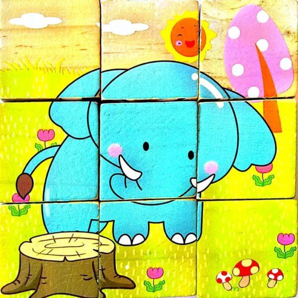 بازل خشبى 9 قطع مكعبات شكل فيل