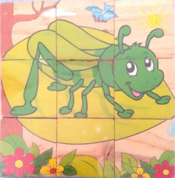 بازل خشبى 9 قطع مكعبات يكون 6 أشكال حشرات متنوعة