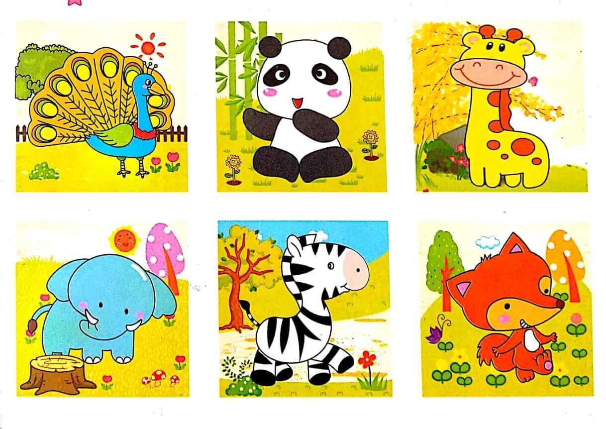 بازل خشبى 9 قطع مكعبات يكون 6 أشكال حيوانات متنوعة