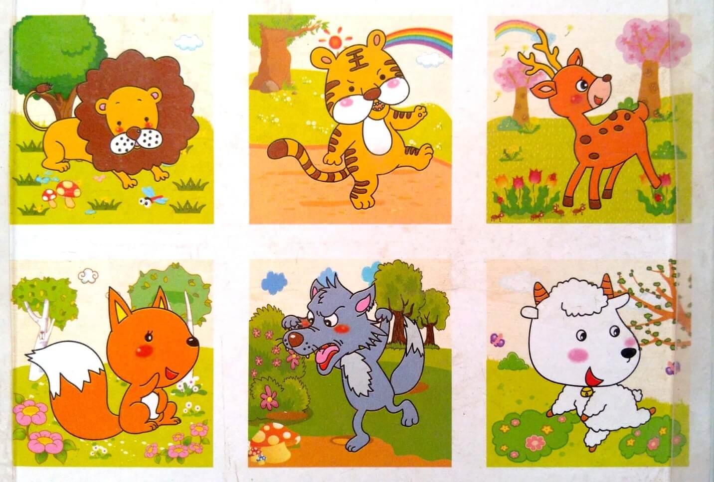 بازل خشبى 9 قطع مكعبات يكون 6 أشكال حيوانات مختلفة