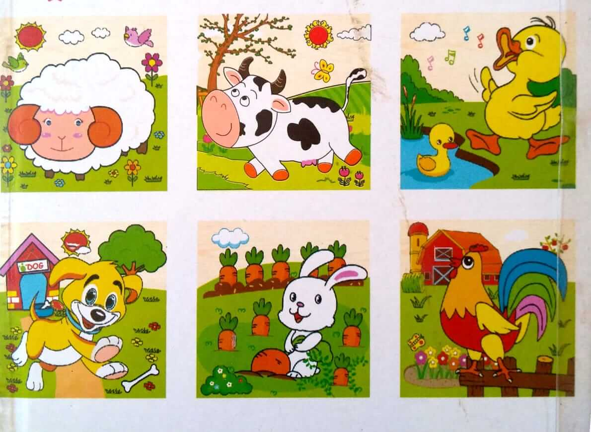 بازل خشبى 9 قطع مكعبات يكون 6 أشكال حيوانات