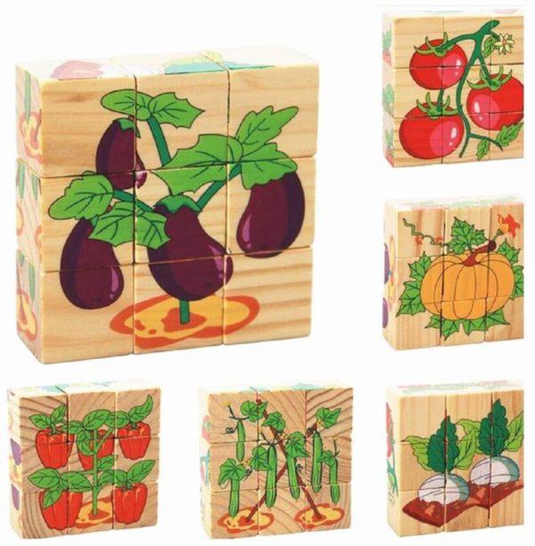 بازل مكعبات خشبى 9 قطع بألوان منوعة