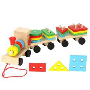 قطار اشكال هندسية خشبى
