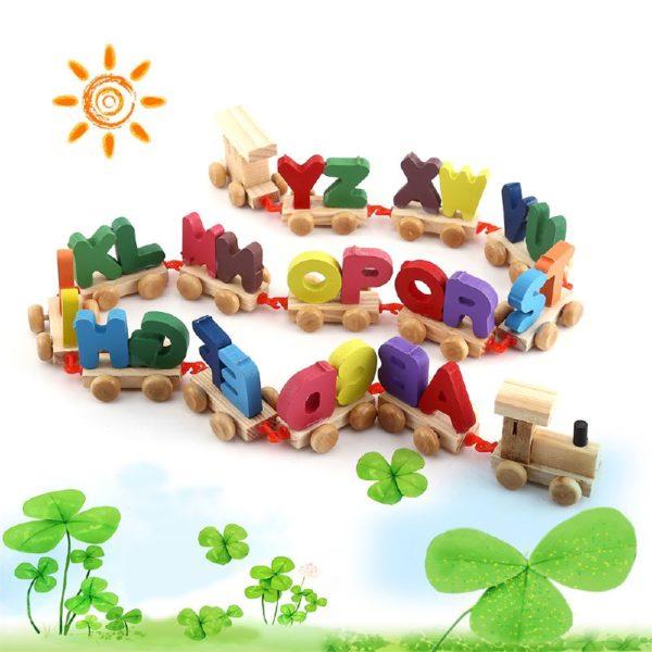 لعبة قطار الحروف الخشبى لتعليم الحروف الانجليزية