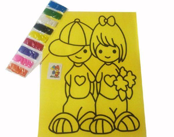 التلوين بالرمال الملونة لوحة صفراء