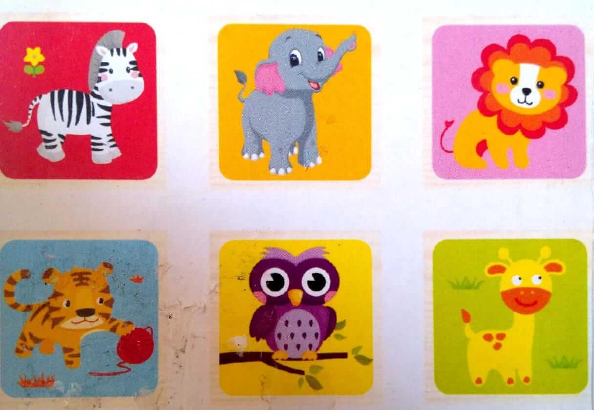 بازل مكعبات 4 قطع أشكال حيوانات