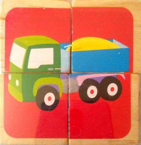 بازل مكعبات 4 قطع شكل عربة نقل